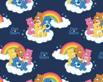 Navy Care Bears Rainbow Cotton fabric from Camelot Fabrics 44010101-3 America Greetings blue licensed fabric by yard metre quilting camelot