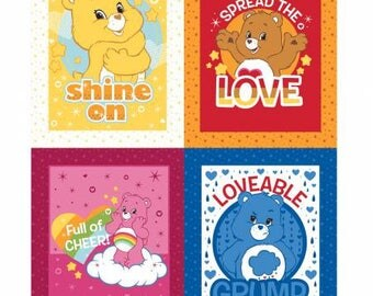 "Care Bears 36"" Panel Cotton fabric from Camelot Fabrics 44010111P-1 America Greetings fabric by yard metre quilting licensed"