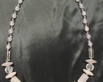 SALE Vintage Milky Clear Lilac Lucite & Thermoplastic Beaded Necklace Leaf Decorated Beads