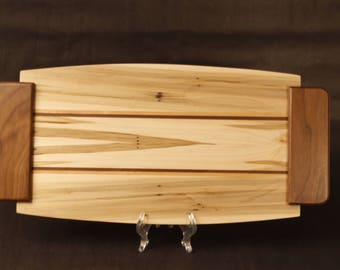 Large Hard Wood, Serving Tray, Gift made from Spalled Maple, Walnut and Cherry Inlays, and Walnut Handles Item: T192