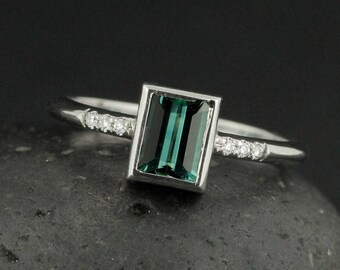 Teal Green Tourmaline Ring - Emerald Cut Tourmaline - Engagement Ring