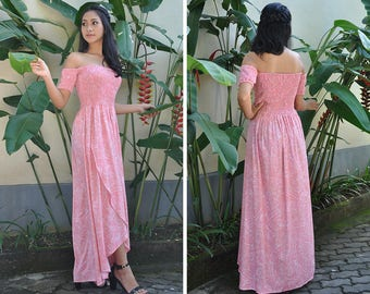 Long Dress, Off Shoulder Dress, Summer Dresses, Maxi Dress, Bridesmaids Dress, Baby Shower Dress, Gift, Resort Wear, Night Gown, Pink Dress