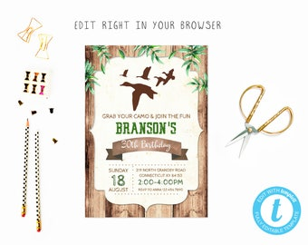 Duck hunting adult birthday tem, TRY BEFORE you BUY, instant download, edit yourself invitation,Template Editable