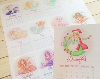 ON SALE 2017 Calendar, mermaids, wall or desk, small, 5''x7'', gift