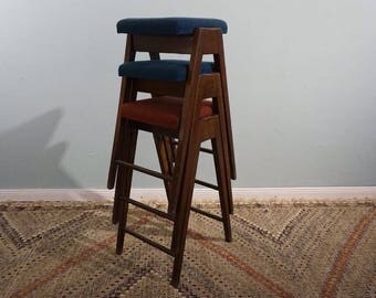 3 x bar stools stool chairs chair wooden chairs 60s-70s