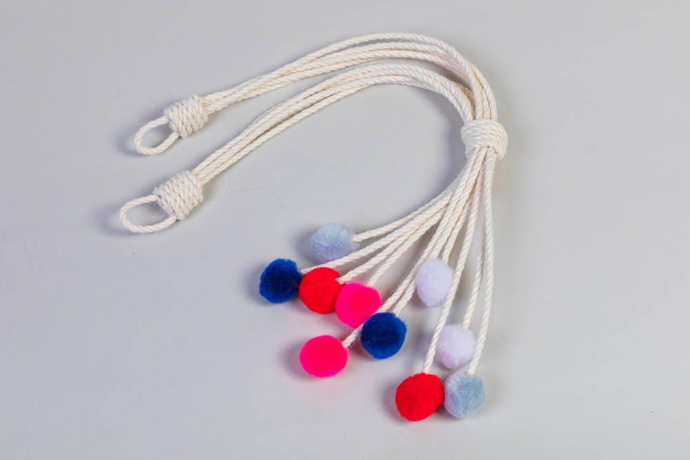 Handmade Multi Color Pom Curtain Tiebacks Christmas Gift Seasonal Decor Hold Backs Pink Red Blue Grey White Nursery Nautical