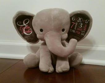Birth Announcement Elephant Birth Stat Elephant Keepsake