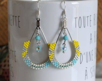 Boucles d'oreilles perles tissées, boucles d'oreille pendantes, boucles d'oreilles jaune, boucles turquoises, boucles d'oreilles argentées