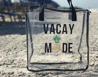 Customizable Beach Bag / Beach Tote / Clear Beach Tote / Vacay Mode / Good Vibes / Bridesmaids Gift