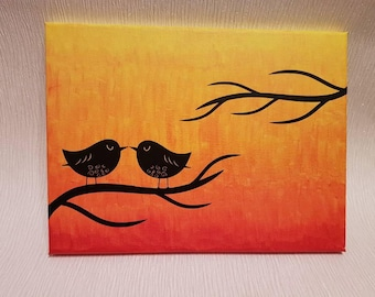 Hand painted canvas with bird silhouette