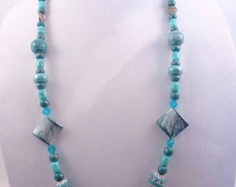 Shades of Blue Beaded Necklace & Earrings