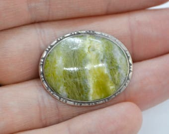 Antique Solid SILVER & Irish CONNEMARA MARBLE Oval Framed Brooch / Pin