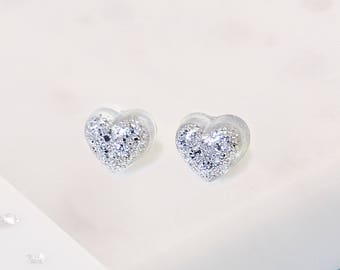 Silver memorial ashes or hair heart resin stud earrings