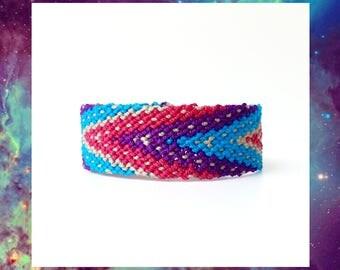 Woven Friendship Bracelet Chevron Polka Dots Galaxy Thick Large Wide Thread women handmade hippie tribal ethnic mexican - Q'enqo Bracelets