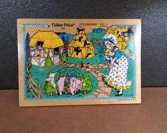 Fisher Price Little Bo Peep Puzzle #2720 Collectible Vintage Wooden Preschool Nursery Rhyme Puzzle 1982 Quaker Oats