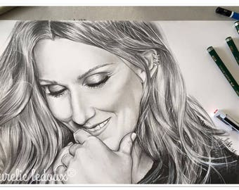 "pencil portrait ""Celine Dion"" graphite"