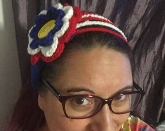 Crochet Red White and Blue holiday headband