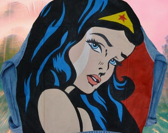 Wonder Woman Pop-art handpainted deni jacket