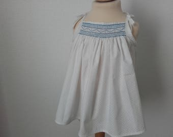 Tank top with straps smocked clay 2 years