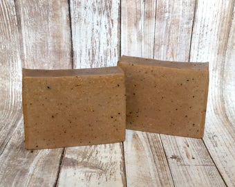Tobacco Vanilla Scented Soap, Father's Day Gift Soap, Men's Soap with Goat Milk, Exfoliating Soap, Coffee Soap, Soap for Men