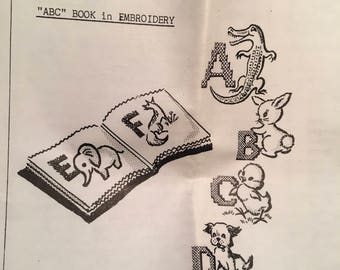 ABC Book in Embroidery (Sewn Soft) #2065 Vintage Uncut ; Letters and Animals