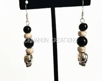 Skull Earrings, Silver Skull Earrings, Skull Dangle Earrings