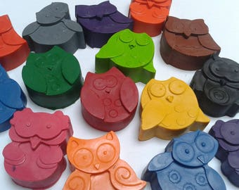Owl crayons, set of 6, party favours, children's party, gift, upcycled