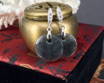 Carved jade earrings. Icy Black translucent jadeite jade grade A type A disc drop/dangle earrings 翡翠 ヒスイ