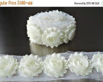 40% SALE IVORY Chiffon Flowers 1/2 Yard or 1 Yard Shabby Flower Trim Frayed Flowers Chic Rosettes Rosette Trim Flowers Shabby Rose Flowers 2