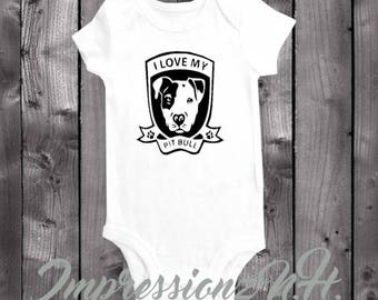 I love my pitbull onesie - I Love My Pitbull baby shirt, baby bodysuit, one-piece shirt, sibling with paws