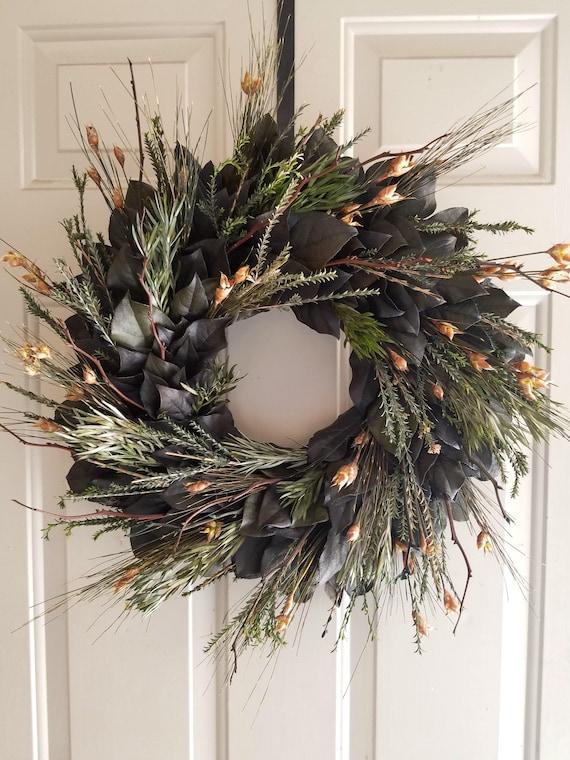 Fall wreath, leaf wreath, dried wreath, salal wreath, preserved wreath, natural wreath,  autum wreath