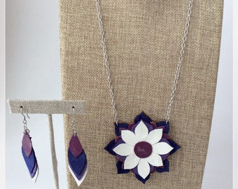 Set necklace mandala with matching recycled leather earrings