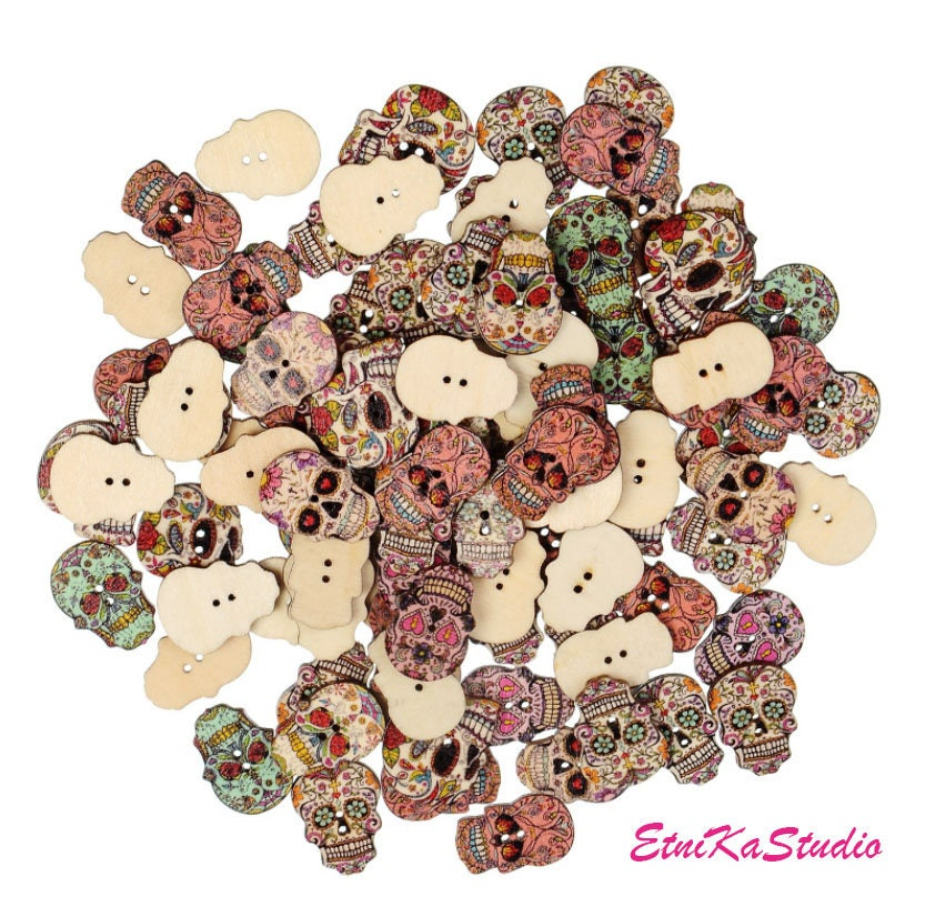 Mixed sugar skull wood buttons pack of 8 day of the dead for Day of the dead craft supplies