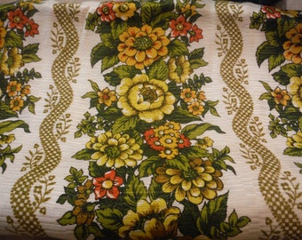 1960's Pinch Pleated Green, Yellow, Orange,Gold,Red Floral Polyester Curtains,Drapes