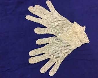 Vintage Hand Crochet Lace Gloves