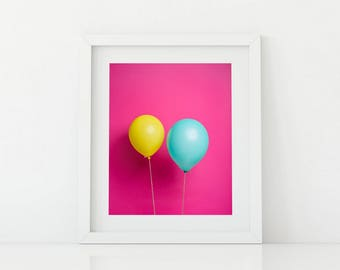 Multi-Color Balloons on Pink Pop Art - Bright and Fun Kids Artwork