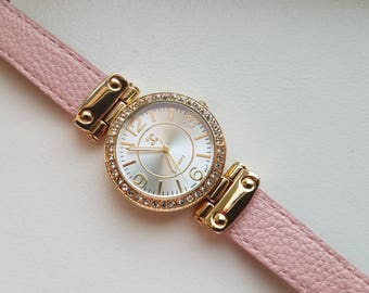 DC Watch with Rhinestones and Pink Band