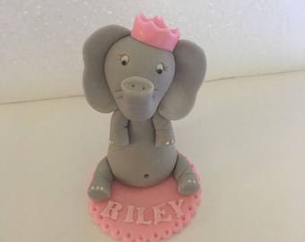 Fondant Baby Girl Elephant With Crown Cake Topper