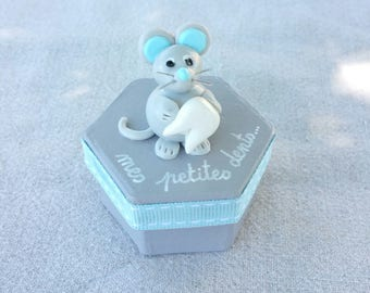 teeth grey hexagonal box with little mouse (blue)