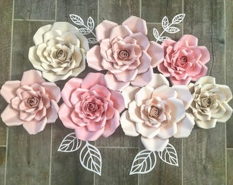 Pink and blush set of 7 paper flowers