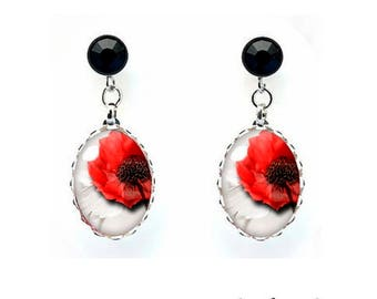 13 x 18 mm cabochon jewelry with Rhinestone red poppy earrings red poppy