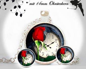 Jewellery set necklace earrings red ROSE watch romance SET-SB25/14-004