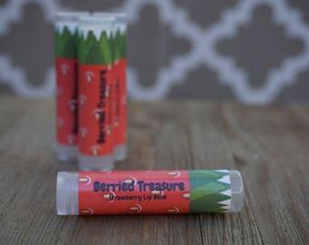"""Strawberry Lip Balm- Natural and Handmade- """"Berried Treasure"""""""