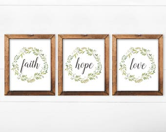 Faith Hope Love, Set Of 3 Printable Art, French Country Decor, Set Of