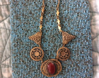 Art Deco Brass Filigree and Carnelian Red Stone Necklace