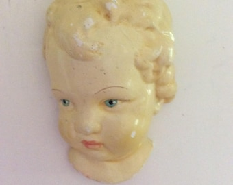 Vintage Chalkware Baby, Blonde Blue Eyed, Wall Hanging Plaque, So....Adorable!