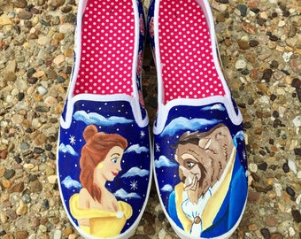 Disney Beauty and the Beast handpainted shoes -painted disney shoes - disney shoes
