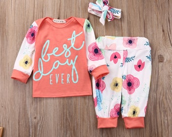 """Baby girl 3 pcs outfit """"Best Day Ever"""""""