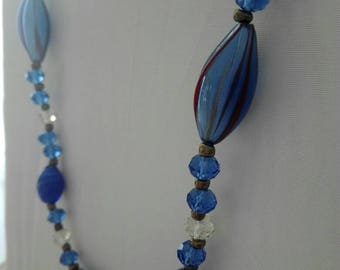 Blown glass necklace with crystals, blue glass necklace, glass