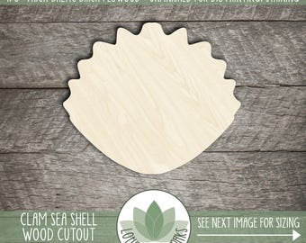 Wood Clam Sea Shell Shape, Unfinished Wooden Shell Shape, DIY Craft Supply, Many Size Options, Sea Shell Crafting Supply